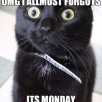 Woah Kitty Meme | OMG I ALLMOST FORGOTS ITS MONDAY | image tagged in memes,woah kitty | made w/ Imgflip meme maker