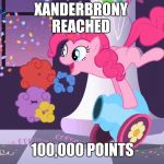 Last day of Stolen Memes Week an AndrewFinlayson event. | XANDERBRONY REACHED 100,000 POINTS | image tagged in pinkie pie's party cannon explosion,memes,stolen memes week,my little pony,pinkie pie,why not | made w/ Imgflip meme maker