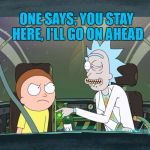 Rick & Morty Season Three! | TWO HATS WERE ON A HAT RACK ONE SAYS; YOU STAY HERE, I'LL GO ON AHEAD | image tagged in bad pun rick  morty | made w/ Imgflip meme maker