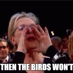 meryl streep | WELL THEN THE BIRDS WON'T SING | image tagged in meryl streep | made w/ Imgflip meme maker