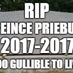 tombstone | RIP TOO GULLIBLE TO LIVE REINCE PRIEBUS 2017-2017 | image tagged in tombstone | made w/ Imgflip meme maker