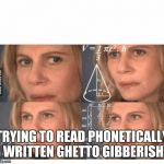 Thinking lady | TRYING TO READ PHONETICALLY WRITTEN GHETTO GIBBERISH | image tagged in thinking lady | made w/ Imgflip meme maker