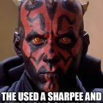 Darth Maul Meme | FELL ASLEEP AT A FRAT PARTY THE USED A SHARPEE AND PUT BUGLES ON MY HEAD | image tagged in memes,darth maul | made w/ Imgflip meme maker