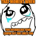 Tears Of Joy Meme | THAT MOMENT WHEN YOU OVERHEARD YOUR CRUSH SAY SHE LIKES YOU | image tagged in memes,tears of joy | made w/ Imgflip meme maker