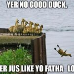 baby ducks | YER NO GOOD DUCK, YER JUS LIKE YO FATHA   LOL | image tagged in baby ducks | made w/ Imgflip meme maker