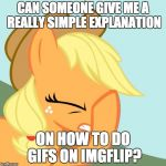 I have no idea how, and the tutorials i have seen are really complicated to follow! | CAN SOMEONE GIVE ME A REALLY SIMPLE EXPLANATION ON HOW TO DO GIFS ON IMGFLIP? | image tagged in aj face hoof,memes,gifs,gif comments | made w/ Imgflip meme maker