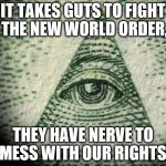 Illuminati | IT TAKES GUTS TO FIGHT THE NEW WORLD ORDER, THEY HAVE NERVE TO MESS WITH OUR RIGHTS. | image tagged in illuminati | made w/ Imgflip meme maker