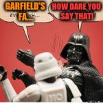 Darth Vader Slapping Storm Trooper | GARFIELD'S FA.... HOW DARE YOU SAY THAT! | image tagged in darth vader slapping storm trooper | made w/ Imgflip meme maker