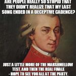 Mozart Not Sure Meme | ARE PEOPLE REALLY SO STUPID THAT THEY DIDN'T REALIZE THAT MY LAST SONG ENDED IN A DECEPTIVE CADENCE? JUST A LITTLE MORE OF THE MARSHMELLOW T | image tagged in memes,mozart not sure | made w/ Imgflip meme maker