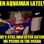 Batman And Superman Meme | SEEN AQUAMAN LATELY? NO. HE'S STILL MAD AFTER CATCHING ME PEEING IN THE OCEAN. | image tagged in memes,batman and superman | made w/ Imgflip meme maker