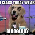 Chemistry Dog | OK THEN CLASS TODAY WE ARE DOING BIDOGLOGY | image tagged in chemistry dog | made w/ Imgflip meme maker