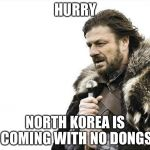 Brace Yourselves X is Coming Meme | HURRY NORTH KOREA IS COMING WITH NO DONGS | image tagged in memes,brace yourselves x is coming | made w/ Imgflip meme maker