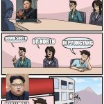 Kim Young-One Politbureau Suggestion | WHERE SHOULD WE HAVE OUR NEXT NUCLEAR TEST? UP NORTH DOWN SOUTH IN PYONGYANG FASTEST WAY TO SOLVE NORTH KOREA'S PROBLEMS, BRUH | image tagged in memes,boardroom meeting suggestion,north korea,kim jong un | made w/ Imgflip meme maker
