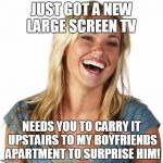 Friend Zone Fiona Meme | JUST GOT A NEW LARGE SCREEN TV NEEDS YOU TO CARRY IT UPSTAIRS TO MY BOYFRIENDS APARTMENT TO SURPRISE HIM! | image tagged in memes,friend zone fiona | made w/ Imgflip meme maker