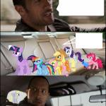 the rock driving ponies meme