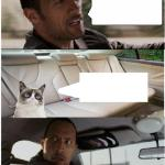 the rock driving grumpy cat meme