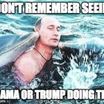 Putin Dolphins | I DON'T REMEMBER SEEING OBAMA OR TRUMP DOING THIS | image tagged in putin dolphins | made w/ Imgflip meme maker
