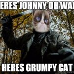 grumpy cat jason | HERES JOHNNY OH WAIT HERES GRUMPY CAT | image tagged in grumpy cat jason,friday the 13th,memes | made w/ Imgflip meme maker