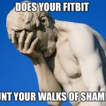 Embarrassed statue  | DOES YOUR FITBIT COUNT YOUR WALKS OF SHAME ?? | image tagged in embarrassed statue | made w/ Imgflip meme maker