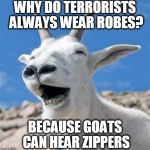 Zip Zip. | WHY DO TERRORISTS ALWAYS WEAR ROBES? BECAUSE GOATS CAN HEAR ZIPPERS | image tagged in memes,laughing goat | made w/ Imgflip meme maker