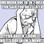 stressed meme | HOMEWORK DUE IN, IN 2 WEEKS YOU SAID YOU DO IT LATER ...YOU HAVEN'T DONE IT AND ITS DUE IN, IN 5 MINUTES | image tagged in stressed meme | made w/ Imgflip meme maker