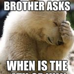 Facepalm Bear Meme | WHEN YOUR BROTHER ASKS WHEN IS THE 4TH OF JULY | image tagged in memes,facepalm bear | made w/ Imgflip meme maker