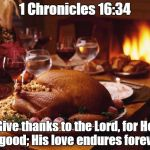 Thanksgiving | 1 Chronicles 16:34 Give thanks to the Lord, for He is good; His love endures forever. | image tagged in thanksgiving | made w/ Imgflip meme maker