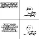 cereal guy | WELCOME TO KENNEDY SPACE CENTER. ON YOUR RIGHT HAND SIDE IS THE VEHICLE ASSEMBLY BUILDING OR V.A.B. THIS IS WHERE THE SPACE SHUTTLE IS ASSEM | image tagged in cereal guy,john f kennedy,huge,funny meme,space shuttle | made w/ Imgflip meme maker