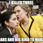 hillary clinton | I KILLED THREE TAXI CABS AND BIG BIRD TO MAKE THIS | image tagged in hillary clinton | made w/ Imgflip meme maker