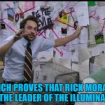 If I disappear you'll know why... :)  | WHICH PROVES THAT RICK MORANIS IS THE LEADER OF THE ILLUMINATI... | image tagged in trying to explain,memes,rick moranis,illuminati | made w/ Imgflip meme maker