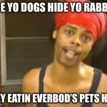 When the kitchen staff finds a loose pet bunny | HIDE YO DOGS HIDE YO RABBITS THEY EATIN EVERBOD'S PETS HERE | image tagged in memes,hide yo kids hide yo wife,pets,rabbits | made w/ Imgflip meme maker