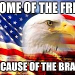 American Flag | HOME OF THE FREE BECAUSE OF THE BRAVE | image tagged in american flag | made w/ Imgflip meme maker