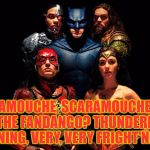 The pose is eerily similar! | SCARAMOUCHE, SCARAMOUCHE, WILL YOU DO THE FANDANGO? THUNDERBOLT AND LIGHTNING, VERY, VERY FRIGHT'NING ME | image tagged in justice league,queen,bohemian rhapsody | made w/ Imgflip meme maker