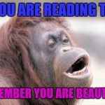 Monkey OOH Meme | IF YOU ARE READING THIS REMEMBER YOU ARE BEAUTIFUL | image tagged in memes,monkey ooh | made w/ Imgflip meme maker