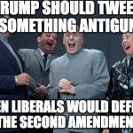 A million tweets. | TRUMP SHOULD TWEET SOMETHING ANTIGUN THEN LIBERALS WOULD DEFEND THE SECOND AMENDMENT | image tagged in memes,laughing villains,donald trump,2nd amendment,gun control,liberals | made w/ Imgflip meme maker
