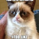 Grumpy Cat Meme | THE DOWN VOTE BUTTON IS FARTHER THAN THE UP VOTE BUTTON I TOO, LIKE TO EXERCISE | image tagged in memes,grumpy cat | made w/ Imgflip meme maker