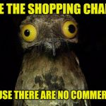 Weird Stuff I Do Potoo Meme | I LIKE THE SHOPPING CHANNEL BECAUSE THERE ARE NO COMMERCIALS | image tagged in memes,weird stuff i do potoo | made w/ Imgflip meme maker