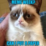 Anonymous Meme Week - A ? Event - Nov 20-27 | ANONYMOUS MEME WEEK? CAN I PUT A PAPER BAG OVER YOUR FACE? | image tagged in memes,grumpy cat,anonymous meme week | made w/ Imgflip meme maker