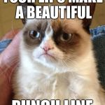 >———< | YOUR LIPS MAKE A BEAUTIFUL PUNCH LINE | image tagged in memes,grumpy cat | made w/ Imgflip meme maker