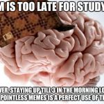 Scumbag Brain Meme | 9 PM IS TOO LATE FOR STUDYING HOWEVER, STAYING UP TILL 3 IN THE MORNING LOOKING AT POINTLESS MEMES IS A PERFECT USE OF TIME | image tagged in memes,scumbag brain | made w/ Imgflip meme maker