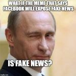 Putin Winking | WHAT IF THE MEME THAT SAYS FACEBOOK WILL EXPOSE FAKE NEWS IS FAKE NEWS? | image tagged in putin winking | made w/ Imgflip meme maker