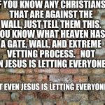Brick wall | IF YOU KNOW ANY CHRISTIANS THAT ARE AGAINST THE WALL, JUST TELL THEM THIS.   YOU KNOW WHAT HEAVEN HAS? A GATE, WALL, AND EXTREME VETTING PRO | image tagged in brick wall | made w/ Imgflip meme maker