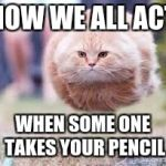 GET OVER HERE | HOW WE ALL ACT WHEN SOME ONE TAKES YOUR PENCIL | image tagged in get over here | made w/ Imgflip meme maker