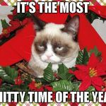 christmas is s**t | IT'S THE MOST SHITTY TIME OF THE YEAR | image tagged in memes,grumpy cat mistletoe,grumpy cat,reigns_storm,funny | made w/ Imgflip meme maker
