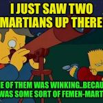 skinner telescope | I JUST SAW TWO MARTIANS UP THERE! ONE OF THEM WAS WINKING..BECAUSE IT WAS SOME SORT OF FEMEN-MARTIAN | image tagged in skinner telescope | made w/ Imgflip meme maker