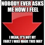 downvotes | NOBODY EVER ASKS ME HOW I FEEL I MEAN, IT'S NOT MY FAULT I WAS MADE THIS WAY | image tagged in downvotes | made w/ Imgflip meme maker