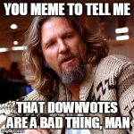 Lebowski downvotes | YOU MEME TO TELL ME THAT DOWNVOTES ARE A BAD THING, MAN | image tagged in memes,confused lebowski | made w/ Imgflip meme maker