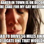 First World Problems Meme | EVERY BAKER IN TOWN IS OK DECORATING THE CAKE FOR MY GAY WEDDING HAD TO DRIVE 56 MILES AWAY TO LOCATE ONE THAT WOULDN'T | image tagged in memes,first world problems | made w/ Imgflip meme maker
