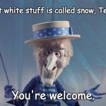 Winter's Coming | That white stuff is called snow, Texas. You're welcome. | image tagged in winter's coming | made w/ Imgflip meme maker