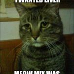 Depressed Cat Meme | I WANTED CHICKEN I WANTED LIVER MEOW MIX WAS NOT DELIVERED | image tagged in memes,depressed cat | made w/ Imgflip meme maker